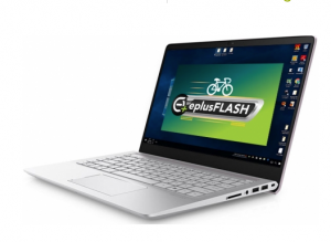Eplus flash software show on a laptop screen
